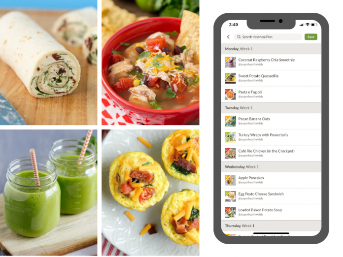 delicious low sugar recipes depicted beside an app screen shop of a meal plan